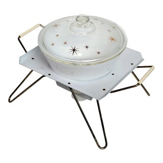 Circa 1960 Federal Glass Co. Atomic Star Retro Chafing Dish