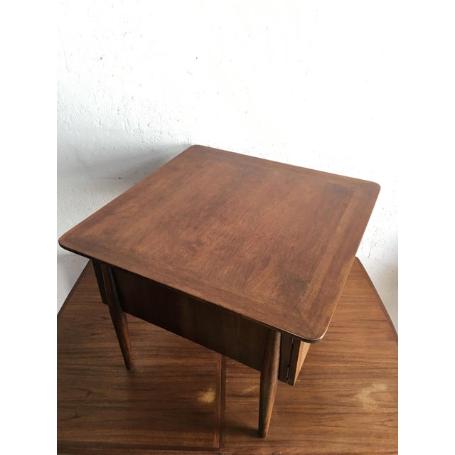 Walnut Mid-Century Modern Side Table With Caned Doors . For Sale - Image 7 of 11