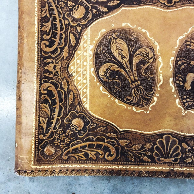 English Antique Tooled Leather Memory Book For Sale - Image 3 of 10