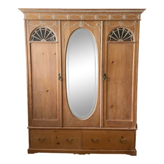 Vintage French Washed Pine Armoire For Sale