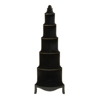 Mid 20th Century Black and Gilt Six-Tier Corner Étagere For Sale