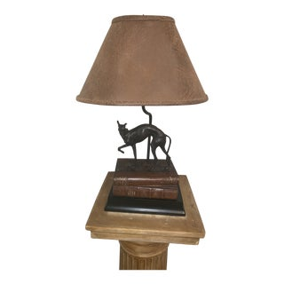 Table Lamp in a Traditional Style Bronze Dog Motif Table Lamp, Reduced Final For Sale