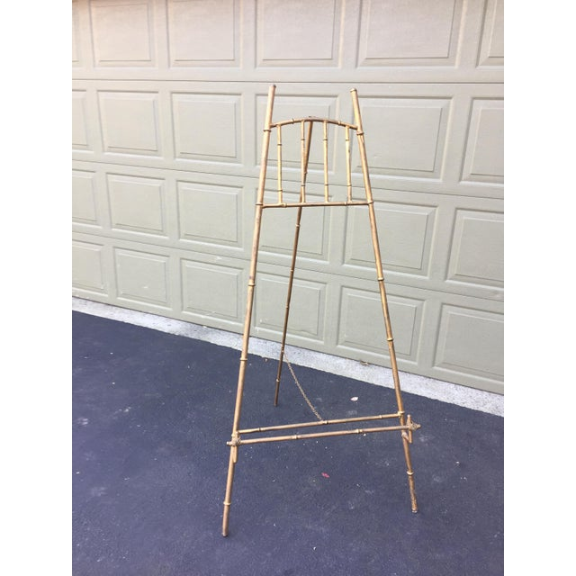 XL Faux Bamboo Gilt Easel For Sale - Image 5 of 5