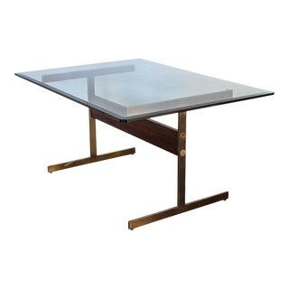 Milo Baughman Glass Table on Brass Pedestal Base