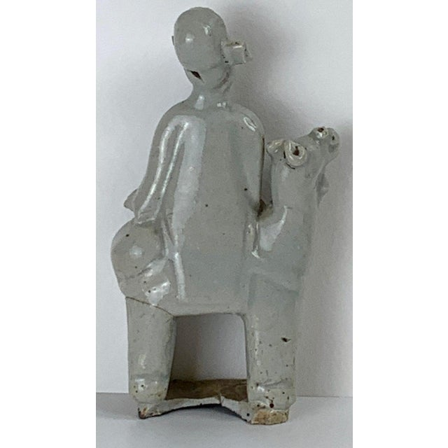 15th Century & Earlier Song Dynasty Chinese Celadon Porcelain Horse and Rider on Later Lucite Pedestal For Sale - Image 5 of 13