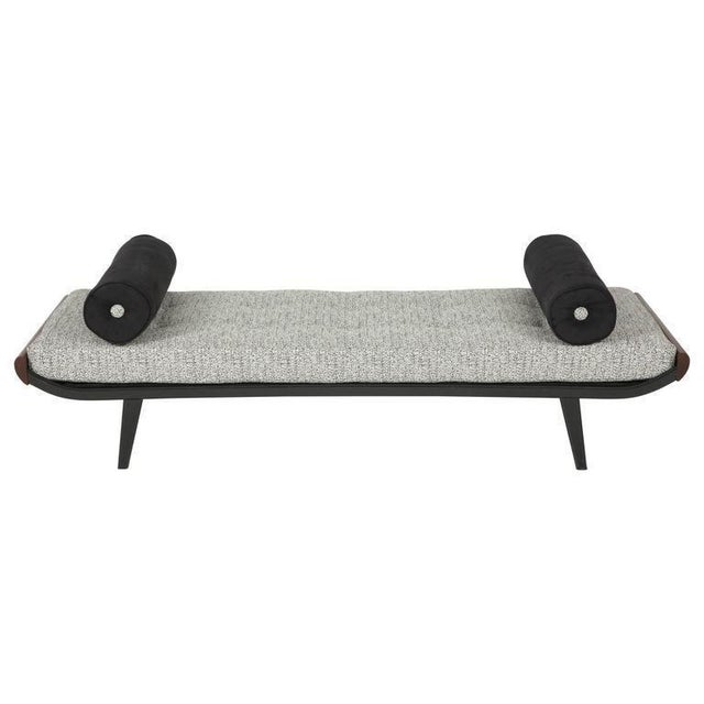 Please update dimensions! Newly upholstered cleopatra daybed, black enameled frame with teak wood end caps. Pair available.