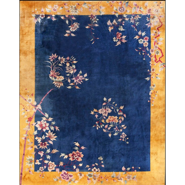Antique Chinese Art Deco Rug- 8′10″ × 11′4″ For Sale In New York - Image 6 of 6