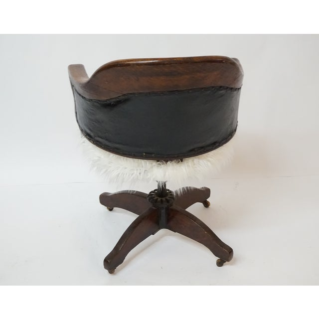 Antique Oak Bankers Swivel Chair With Mongolian Fur - Image 7 of 7