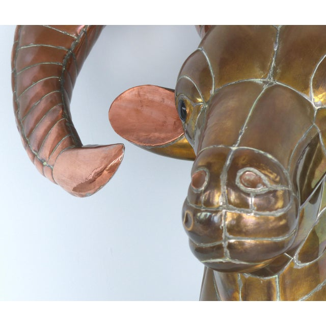 Brass 1970s Sergio Bustamante Life-Size Mexican Mixed Metals Ram's Head Wall Sculpture For Sale - Image 7 of 13