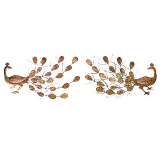 1970's Brutalist Peacock Wall Sculptures in the Manner of Curtis Jere - a Pair For Sale