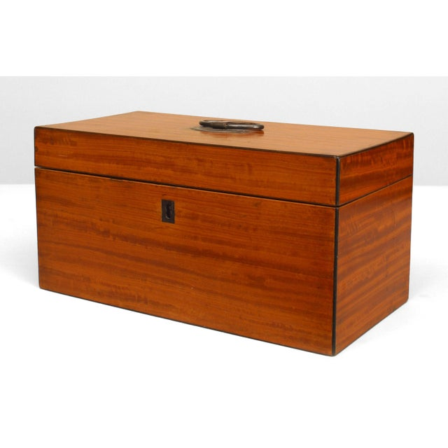 English Antique English Georgian Satinwood Tea Box For Sale - Image 3 of 3