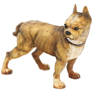Cast Iron Sculpture of a Bulldog Doorstop For Sale