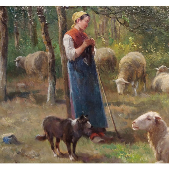 French Cornelius Van Leemputten-Flock of Sheeps-Beautiful 19th C. Oil Painting For Sale - Image 3 of 10