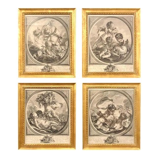 """Four Framed Elements """"Putti"""" Etchings After François Boucher's For Sale"""