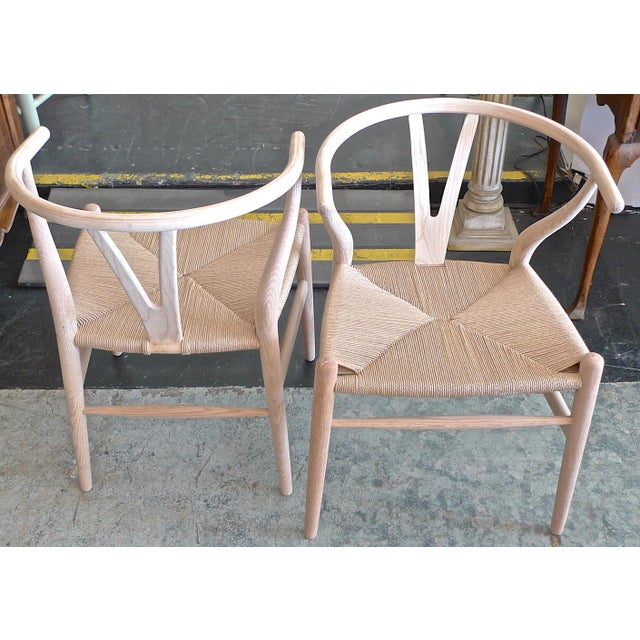 Wood Contemporary Danish 1960s Style Wishbone White Oak Riff Wood Arm Chairs - Set of 6 For Sale - Image 7 of 13