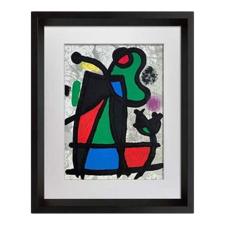 Joan Miro Original Limited Edition Lithograph + Cat. Ref C.134 with Frame For Sale