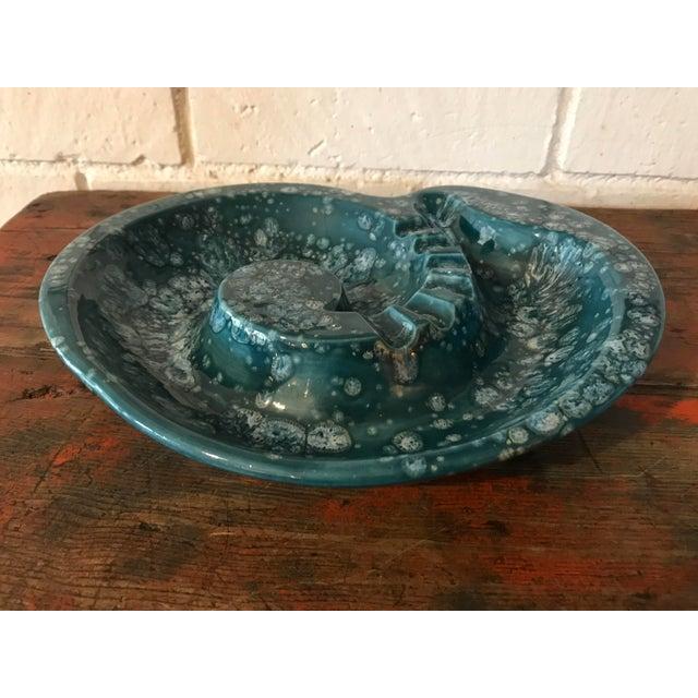 Turquoise Mid-Century Nautilus Shaped Drip Glaze Teal Ashtray For Sale - Image 8 of 9