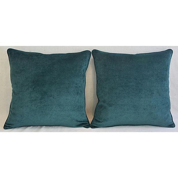 Feather Aqua Marine Green/Turquoise Velvet Feather & Down Pillows - a Pair For Sale - Image 7 of 13