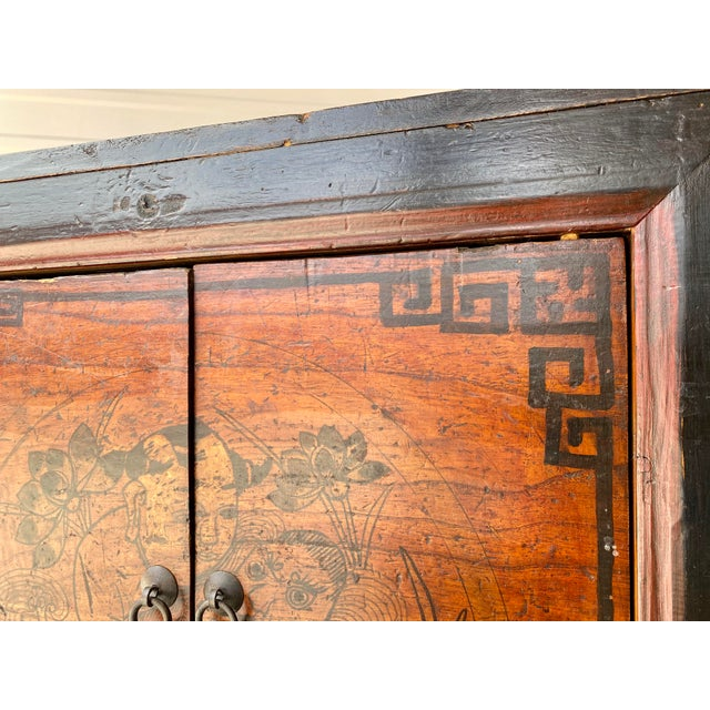 1910s Late 19th Century Antique Mongolian Chinese 2 Door Cabinet For Sale - Image 5 of 11