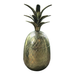 1960s Vintage Large Brass Pineapple Ice Bucket, Jar Container For Sale