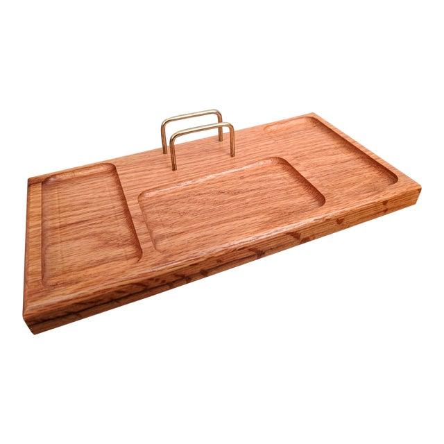 Boho Chic Organic Modern Oak + Brass Desk Valet For Sale