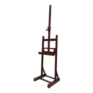C.1910-30's Tiger Oak Painters Easel With Metal Crank Mechanism and Brass Sabot Castors For Sale