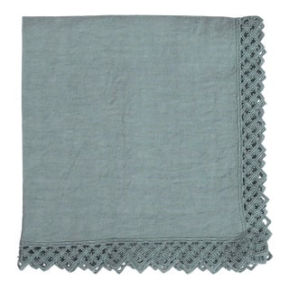 Once Milano Linen Napkin With Macramé in Sage For Sale