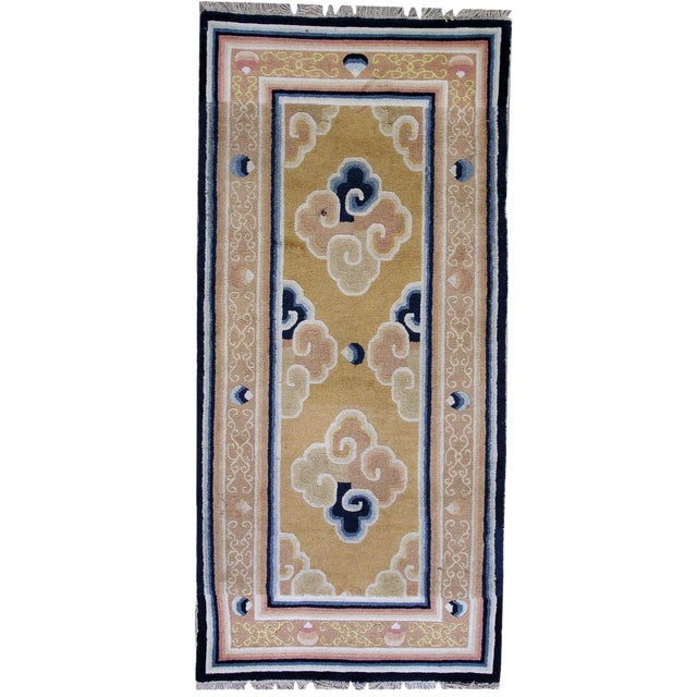 1880s Antique Collectible Chinese Ningsha Rug - 3′7″ × 6′8″ For Sale