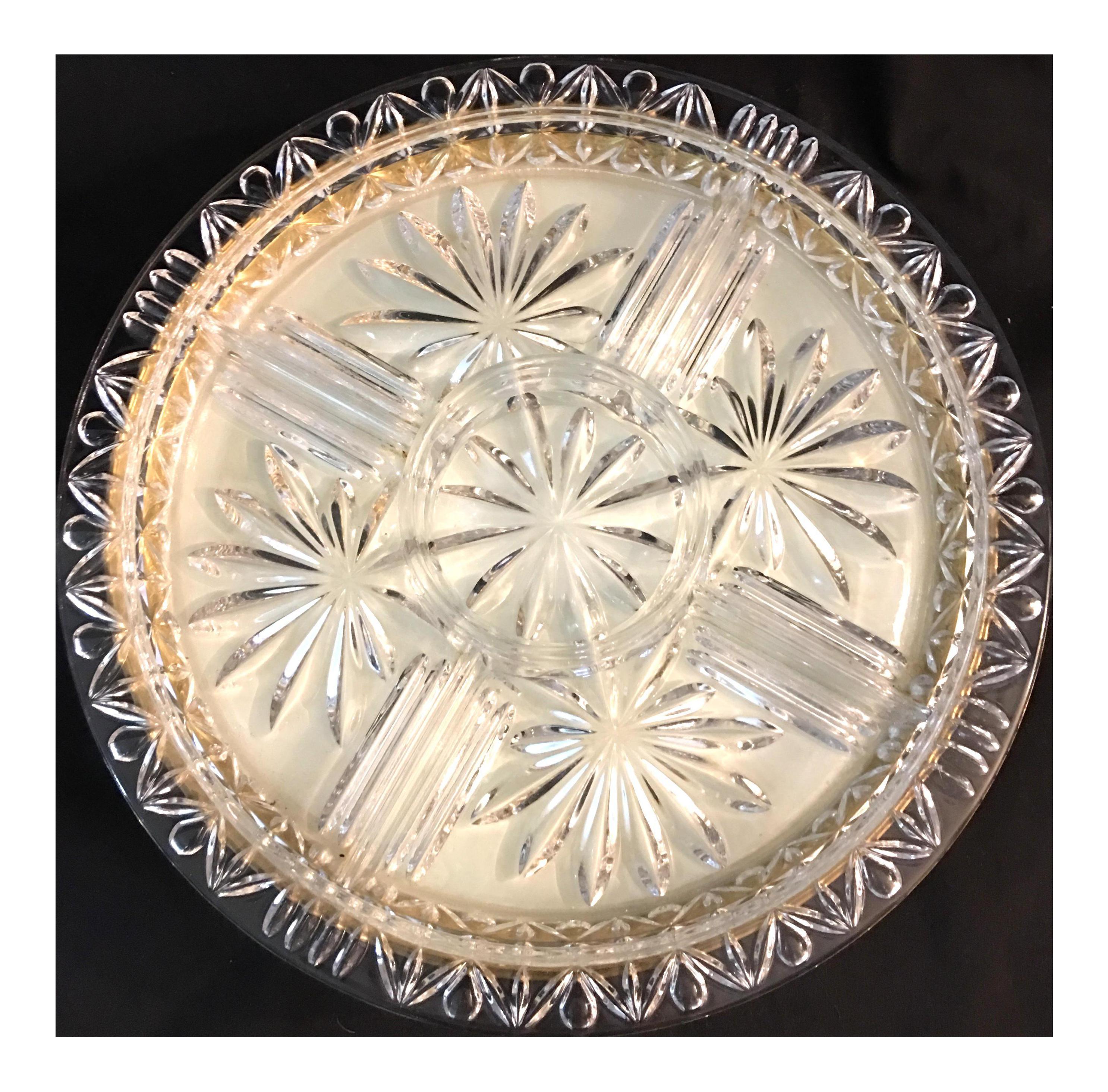 Vintage Glass U0026 Brass Tabletop Lazy Susan   Image 1 ...