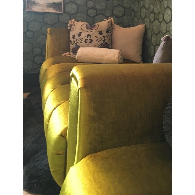 Green Custom Velvet Channel Tufted Double Lounge Daybed For Sale - Image 8 of 11