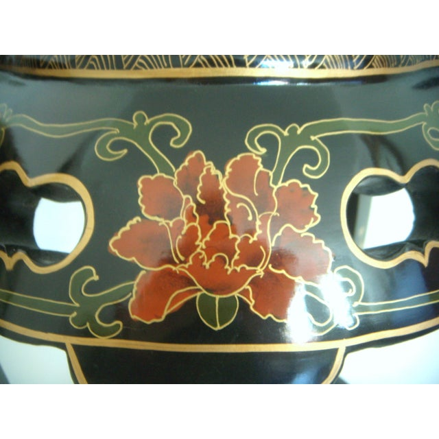 Chinese Black Lacquer Drum Side Tables or Stools - a Pair For Sale - Image 5 of 6