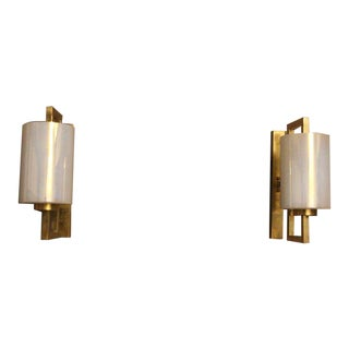 Pair of White Murano Glass and Brass Sconces, Iridescent and Pearly Cylinder For Sale