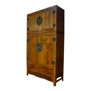 Ming Camphor Wood Cabinet, Features a Companion Top Chest and Original Hardware. For Sale