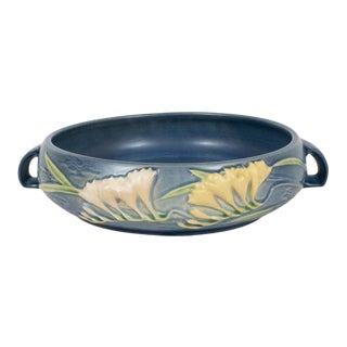 Art Deco Indigo Bowl with Lily of the Valleys Motif by Roseville For Sale