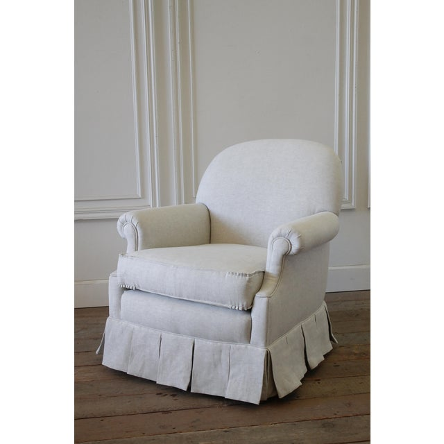 Textile Vintage Custom Upholstered Linen Box Pleated Ruffle Skirt Chair For Sale - Image 7 of 7