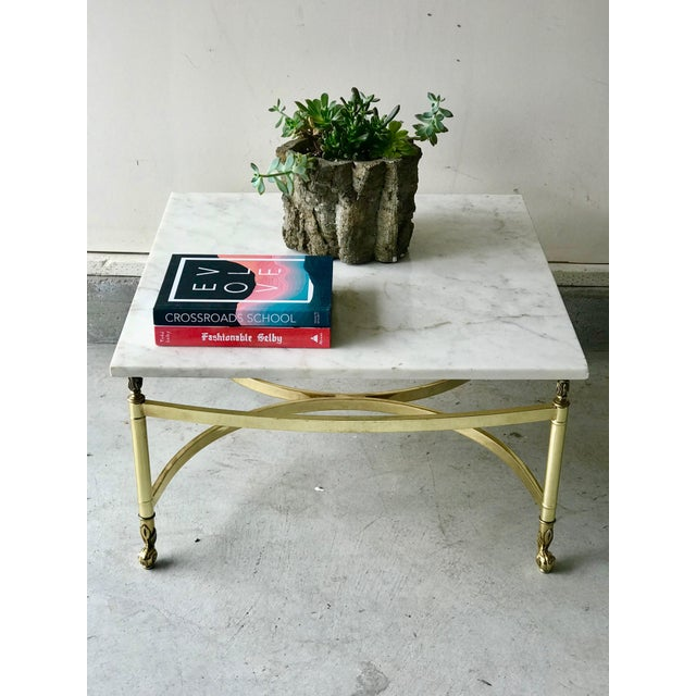 1970s Hollywood Regency Brass and Marble Coffee Table For Sale - Image 4 of 7
