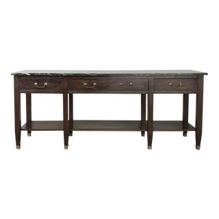 Grand 19th Century French Directoire Mahogany Marble Top Console For Sale