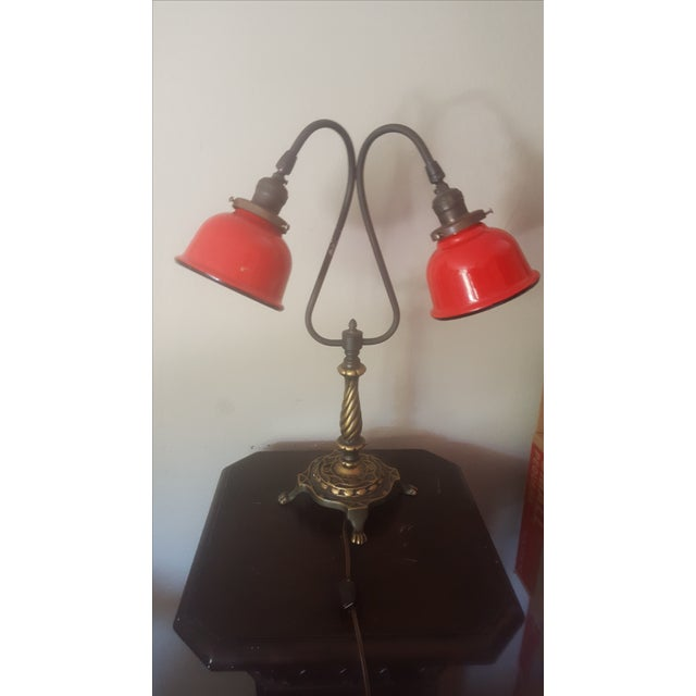 Vintage Industrial Two Arm Accent Lamp With Metal - Image 8 of 8