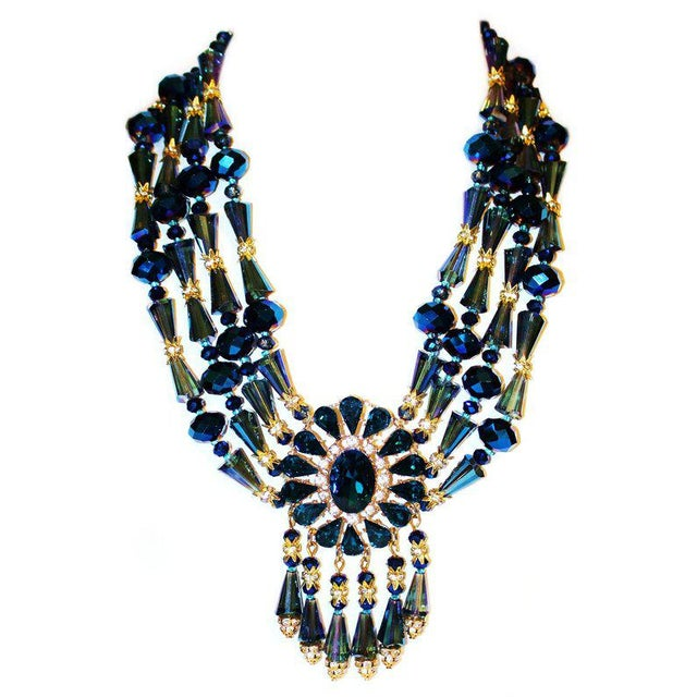 1980s 1980s Vintage Midnight-Blue Faceted Glass Bib Necklace For Sale - Image 5 of 5