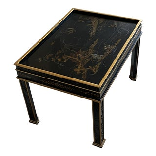 Chinoiserie Drexel Heritage Black Lacquer Side Table For Sale