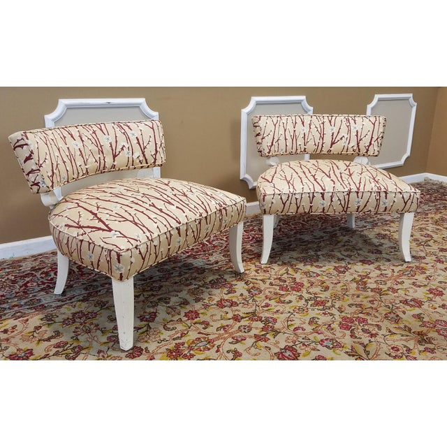 1950s Vintage Mid-Century Modern James Mont Upholstered Slipper Chairs - a Pair - Image 3 of 10
