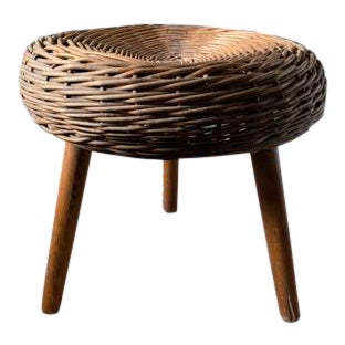 Mid Century Wicker 3 Legged Stool, in the Manner of Tony Paul For Sale