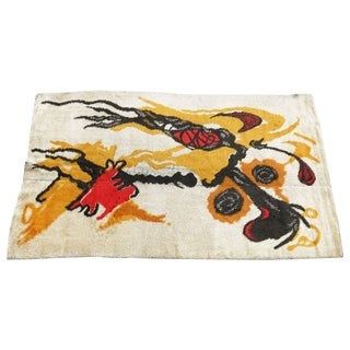 French Abstract Rug by Joan Miro For Sale