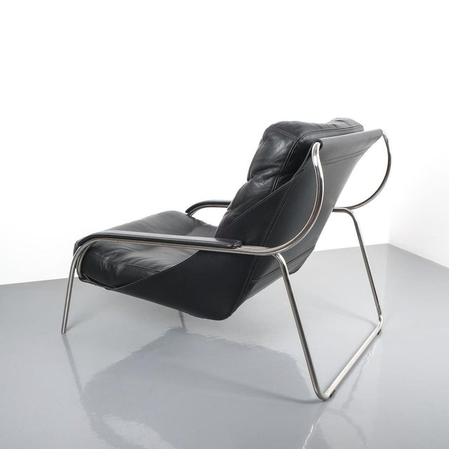 Silver Marco Zanuso Maggiolina Sling Black Leather Chair by Zanotta, 1947 For Sale - Image 8 of 11