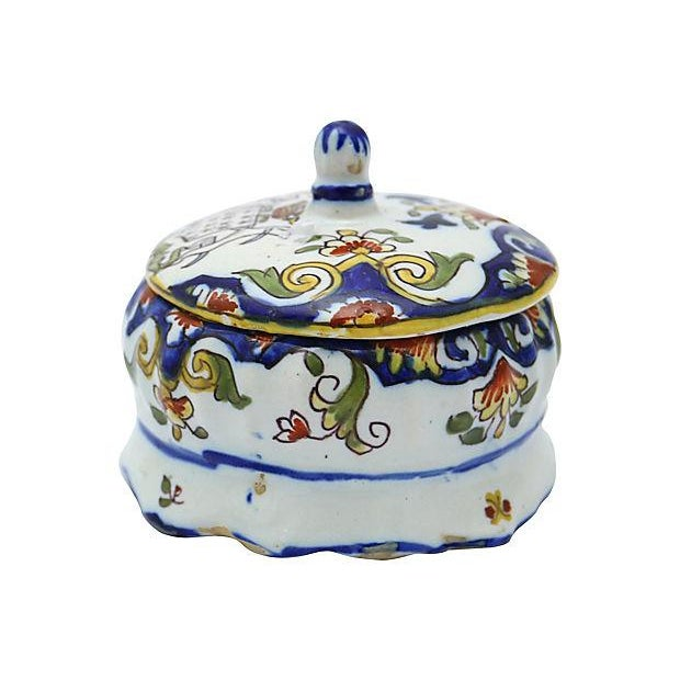 French Faience Crested Trinket Box - Image 3 of 4