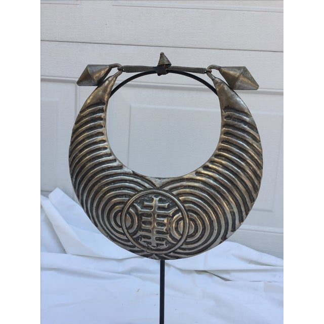 Vintage Tribal Metal Necklace on Stand - Image 3 of 6
