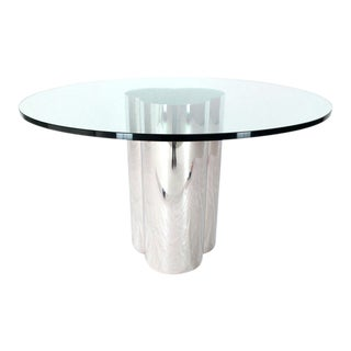 Triple Chrome Cylinder Base Glass Top Round Center Dining Conference Table For Sale