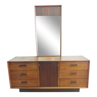 Vintage Mid-Century Modern Lane Tower Suite Walnut Rosewood Chrome Long Dresser With Mirror For Sale