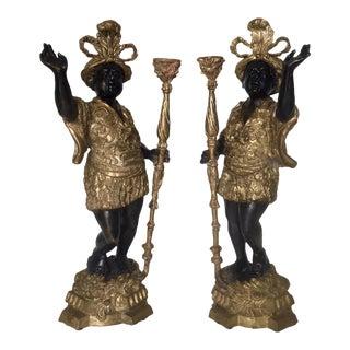 Venetian Italian Bronze and Polychrome Blackamoor CandleHolders - a Pair