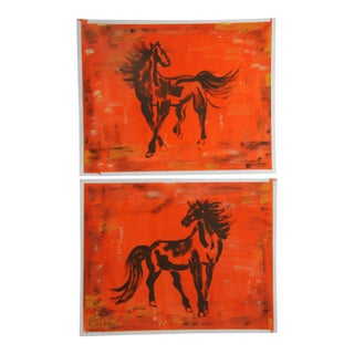Pair of Chinoiserie Horse Paintings by Cleo Plowden For Sale